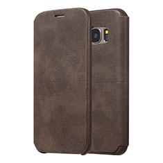 Handytasche Stand Schutzhülle Leder für Samsung Galaxy S7 Edge G935F Braun