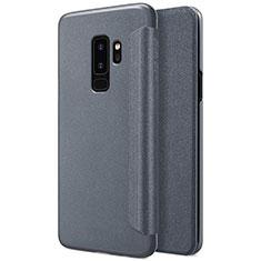Handytasche Stand Schutzhülle Leder für Samsung Galaxy S9 Plus Schwarz