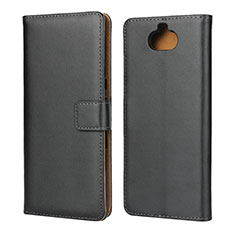 Handytasche Stand Schutzhülle Leder für Sony Xperia 10 Plus Schwarz
