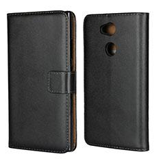Handytasche Stand Schutzhülle Leder für Sony Xperia L2 Schwarz