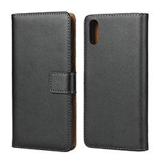 Handytasche Stand Schutzhülle Leder für Sony Xperia L3 Schwarz