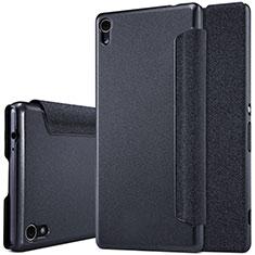 Handytasche Stand Schutzhülle Leder für Sony Xperia XA Ultra Schwarz