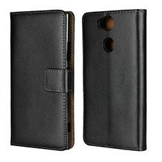 Handytasche Stand Schutzhülle Leder für Sony Xperia XA2 Plus Schwarz