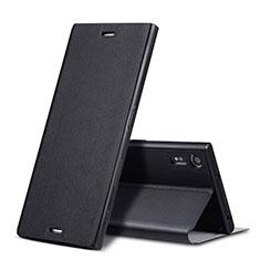 Handytasche Stand Schutzhülle Leder für Sony Xperia XZs Schwarz