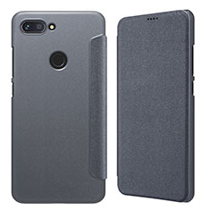 Handytasche Stand Schutzhülle Leder für Xiaomi Mi 8 Lite Grau