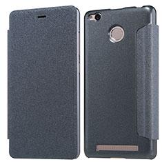 Handytasche Stand Schutzhülle Leder für Xiaomi Redmi 3X Schwarz
