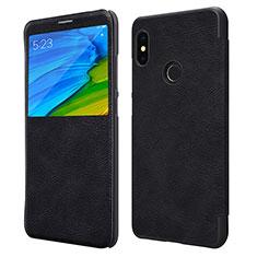 Handytasche Stand Schutzhülle Leder für Xiaomi Redmi Note 5 AI Dual Camera Schwarz