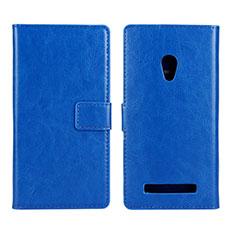 Handytasche Stand Schutzhülle Leder Hülle für Asus Zenfone 5 Blau