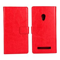 Handytasche Stand Schutzhülle Leder Hülle für Asus Zenfone 5 Rot