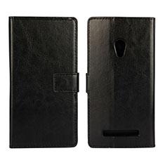 Handytasche Stand Schutzhülle Leder Hülle für Asus Zenfone 5 Schwarz
