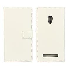 Handytasche Stand Schutzhülle Leder Hülle für Asus Zenfone 5 Weiß
