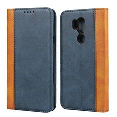 Handytasche Stand Schutzhülle Leder Hülle für LG G7 Blau
