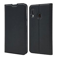 Handytasche Stand Schutzhülle Leder Hülle für Samsung Galaxy A20e Schwarz