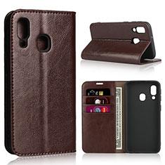 Handytasche Stand Schutzhülle Leder Hülle für Samsung Galaxy A40 Braun