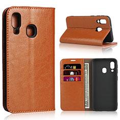Handytasche Stand Schutzhülle Leder Hülle für Samsung Galaxy A40 Orange
