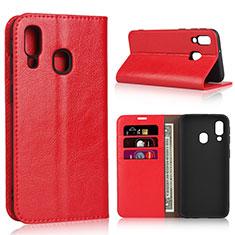 Handytasche Stand Schutzhülle Leder Hülle für Samsung Galaxy A40 Rot