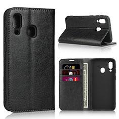 Handytasche Stand Schutzhülle Leder Hülle für Samsung Galaxy A40 Schwarz
