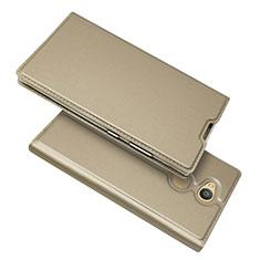 Handytasche Stand Schutzhülle Leder Hülle für Sony Xperia L2 Gold