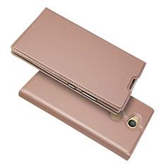 Handytasche Stand Schutzhülle Leder Hülle für Sony Xperia L2 Rosegold