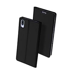 Handytasche Stand Schutzhülle Leder Hülle für Sony Xperia L3 Schwarz