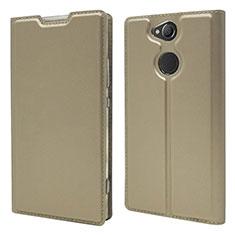 Handytasche Stand Schutzhülle Leder Hülle für Sony Xperia XA2 Gold