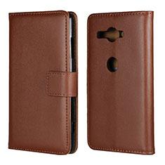 Handytasche Stand Schutzhülle Leder Hülle für Sony Xperia XZ2 Compact Braun