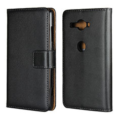 Handytasche Stand Schutzhülle Leder Hülle für Sony Xperia XZ2 Compact Schwarz