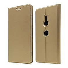 Handytasche Stand Schutzhülle Leder Hülle für Sony Xperia XZ3 Gold