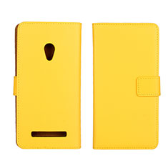 Handytasche Stand Schutzhülle Leder Hülle L01 für Asus Zenfone 5 Gelb