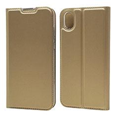 Handytasche Stand Schutzhülle Leder Hülle L01 für Huawei Enjoy 8S Gold