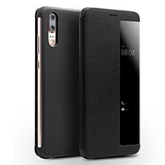 Handytasche Stand Schutzhülle Leder Hülle L01 für Huawei P20 Schwarz