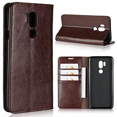 Handytasche Stand Schutzhülle Leder Hülle L01 für LG G7 Braun