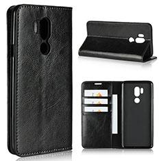 Handytasche Stand Schutzhülle Leder Hülle L01 für LG G7 Schwarz
