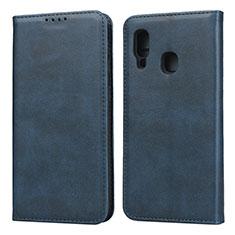 Handytasche Stand Schutzhülle Leder Hülle L01 für Samsung Galaxy A20e Blau