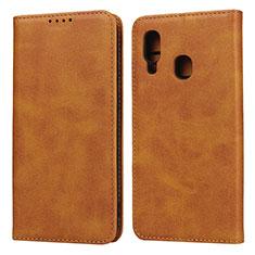 Handytasche Stand Schutzhülle Leder Hülle L01 für Samsung Galaxy A20e Orange