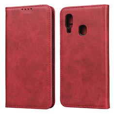 Handytasche Stand Schutzhülle Leder Hülle L01 für Samsung Galaxy A20e Rot