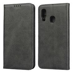 Handytasche Stand Schutzhülle Leder Hülle L01 für Samsung Galaxy A20e Schwarz
