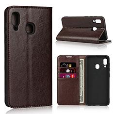 Handytasche Stand Schutzhülle Leder Hülle L01 für Samsung Galaxy A30 Braun