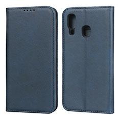 Handytasche Stand Schutzhülle Leder Hülle L01 für Samsung Galaxy A40 Blau
