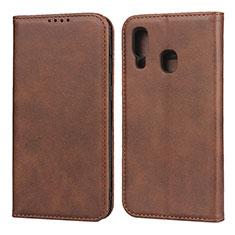 Handytasche Stand Schutzhülle Leder Hülle L01 für Samsung Galaxy A40 Braun