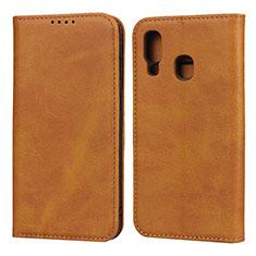 Handytasche Stand Schutzhülle Leder Hülle L01 für Samsung Galaxy A40 Orange