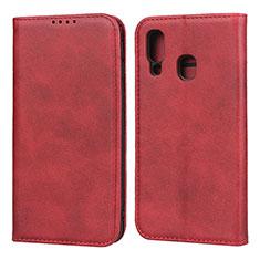 Handytasche Stand Schutzhülle Leder Hülle L01 für Samsung Galaxy A40 Rot