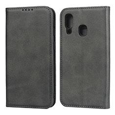 Handytasche Stand Schutzhülle Leder Hülle L01 für Samsung Galaxy A40 Schwarz