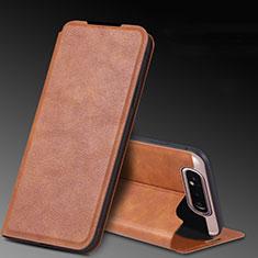 Handytasche Stand Schutzhülle Leder Hülle L01 für Samsung Galaxy A80 Orange