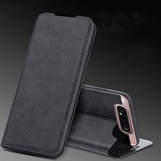Handytasche Stand Schutzhülle Leder Hülle L01 für Samsung Galaxy A80 Schwarz
