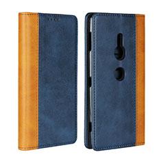 Handytasche Stand Schutzhülle Leder Hülle L01 für Sony Xperia XZ2 Blau