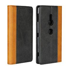Handytasche Stand Schutzhülle Leder Hülle L01 für Sony Xperia XZ2 Schwarz