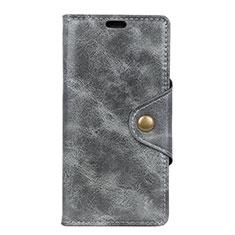 Handytasche Stand Schutzhülle Leder Hülle L02 für Alcatel 1 Grau