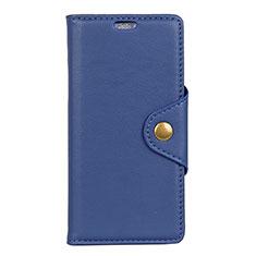 Handytasche Stand Schutzhülle Leder Hülle L02 für Alcatel 5V Blau