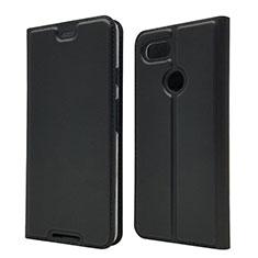 Handytasche Stand Schutzhülle Leder Hülle L02 für Google Pixel 3 Schwarz